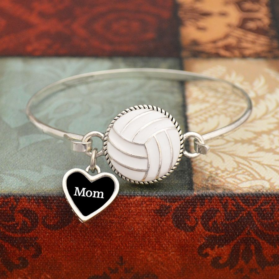 Custom Loved One Volleyball Wire Bangle Bracelet, $12.98// personalize this with any custom loved one, Aunt, Mom, Grandma, etc. Beautiful way to support your favorite volleyball player.