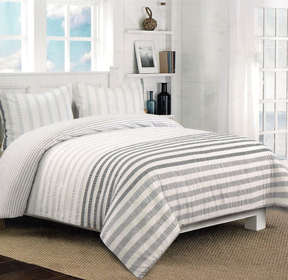 Nicole Miller Grey White Gray Seersucker Full Queen 3pc Textured Duvet Cover  Set