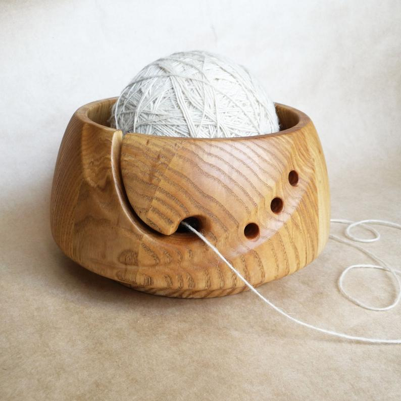 Wooden Yarn Bowl Gifts For Knitters Wooden Yarn Ball Holder Etsy In 2020 Yarn Bowl Yarn Holder Yarn Organization