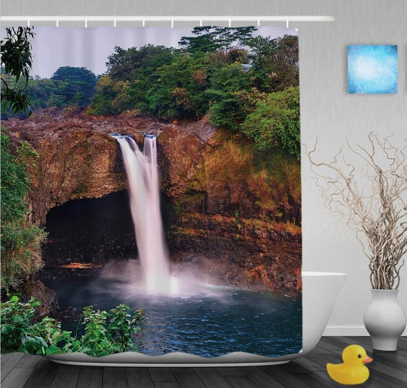 3D Printing Auttum Waterfall Scene Shower Curtain | Products ...