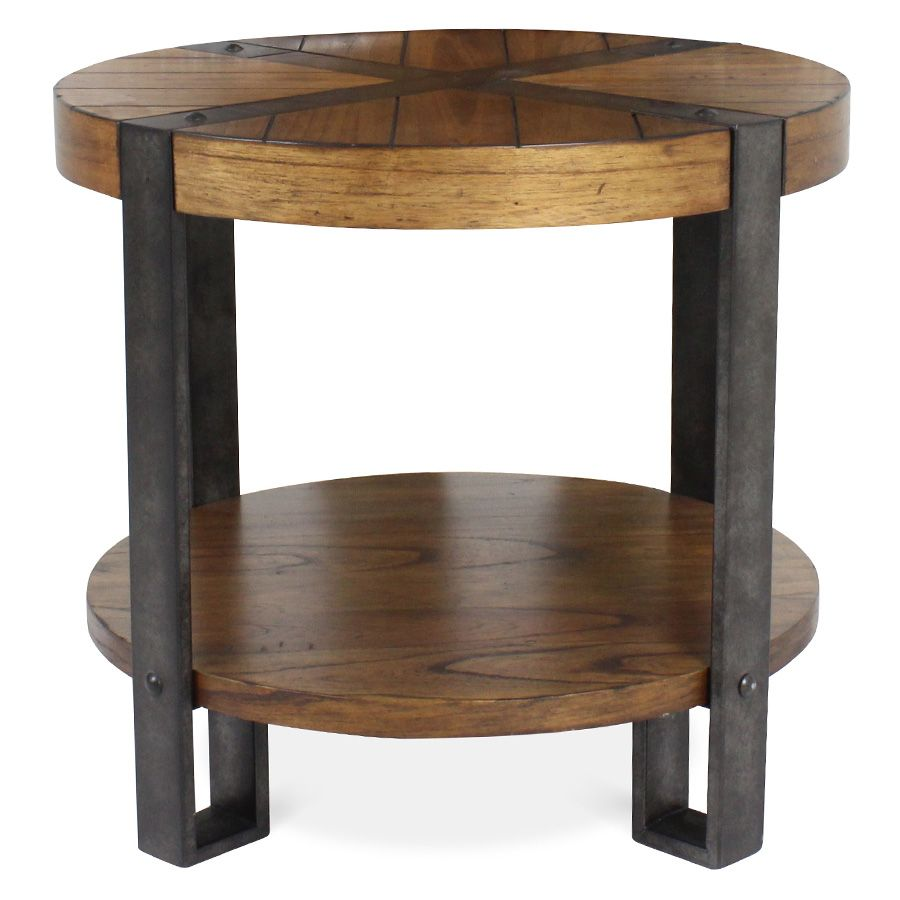 Charming Riverside Sierra Round End Table Front View
