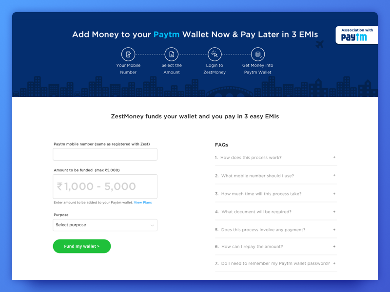 ZestMoney with Paytm | enterprise ui design | Interface