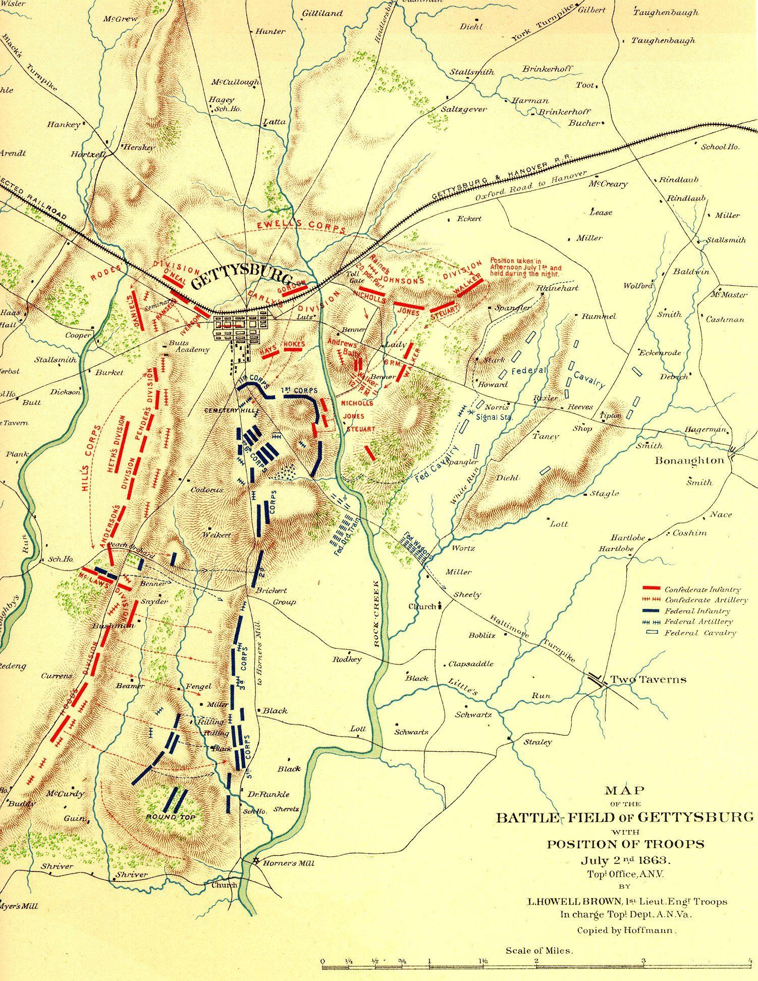 Gettysburg Topographical Map