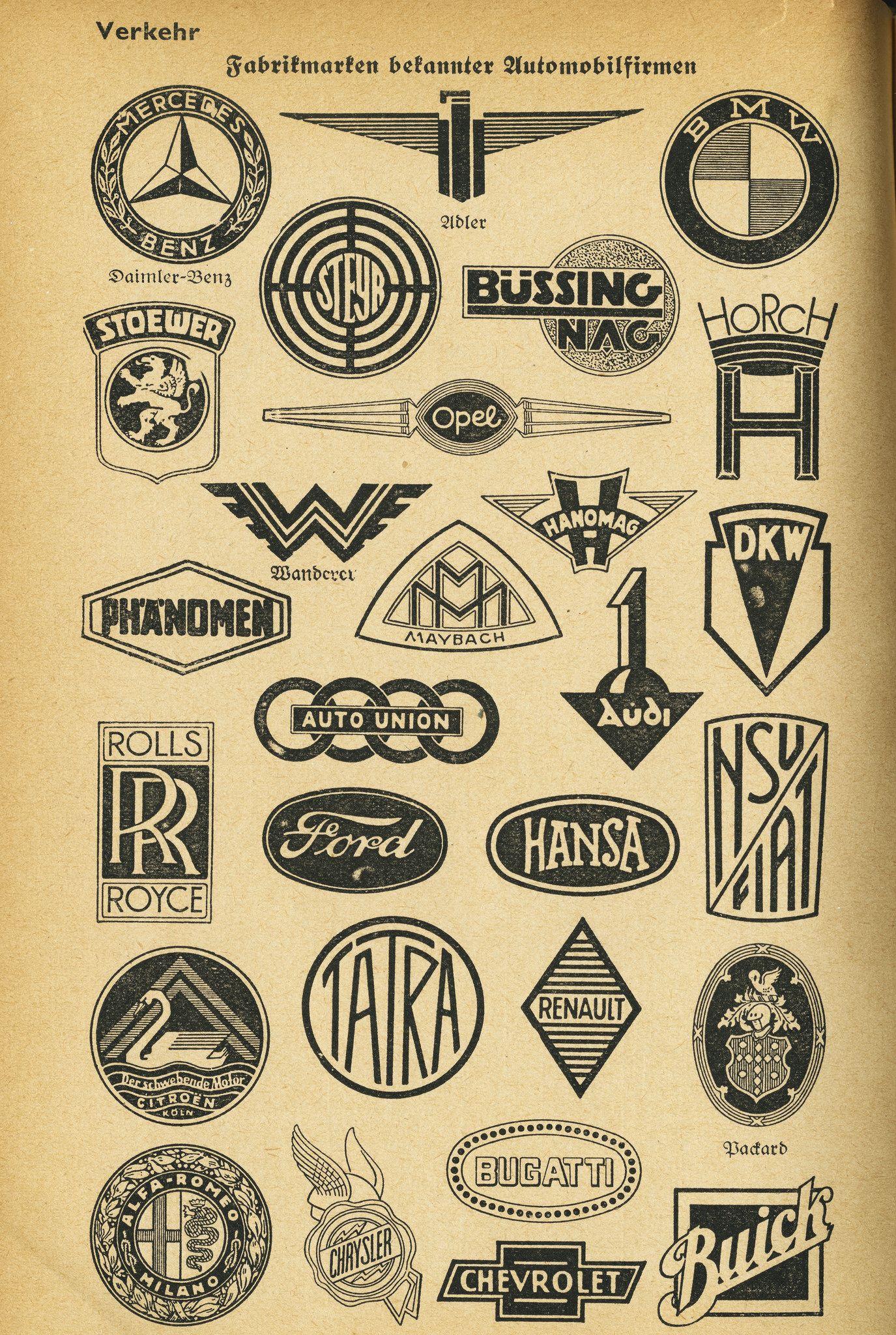 Car Brands Starting With P >> Fabrikmarken Bekannter Automobilfirmen 1939 Logo Pinch Car Logos