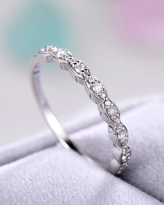 Cz Wedding Band 14k White Gold 925 Sterling Silver Half Eternity
