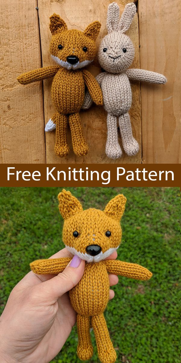 Free Knitting Pattern for Bunny and Fox Toys
