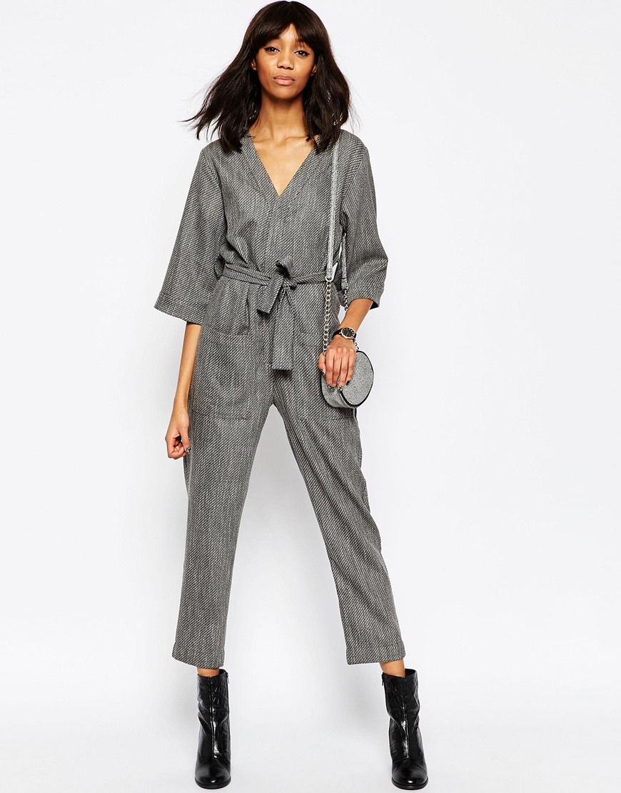 Asos Womens Slouchy Jumpsuit In Texture Gray - Jumpsuits & Rompers