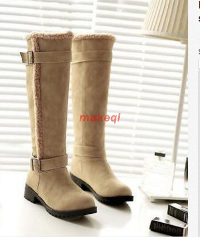 Chic Womens Buckle Strappy Knee High Snow Faux Suede Pull On Shoes Boots Size