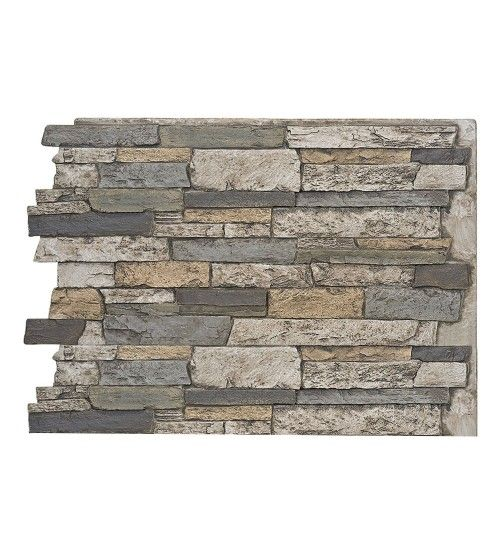 High External Stone Wall: Faux Wide Stacked Stone Wall Panels - Colorado