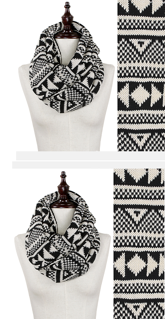 Aztec Nordic Winter Black Triangle Pattern Knit Infinity Women Men Scarf Muffler