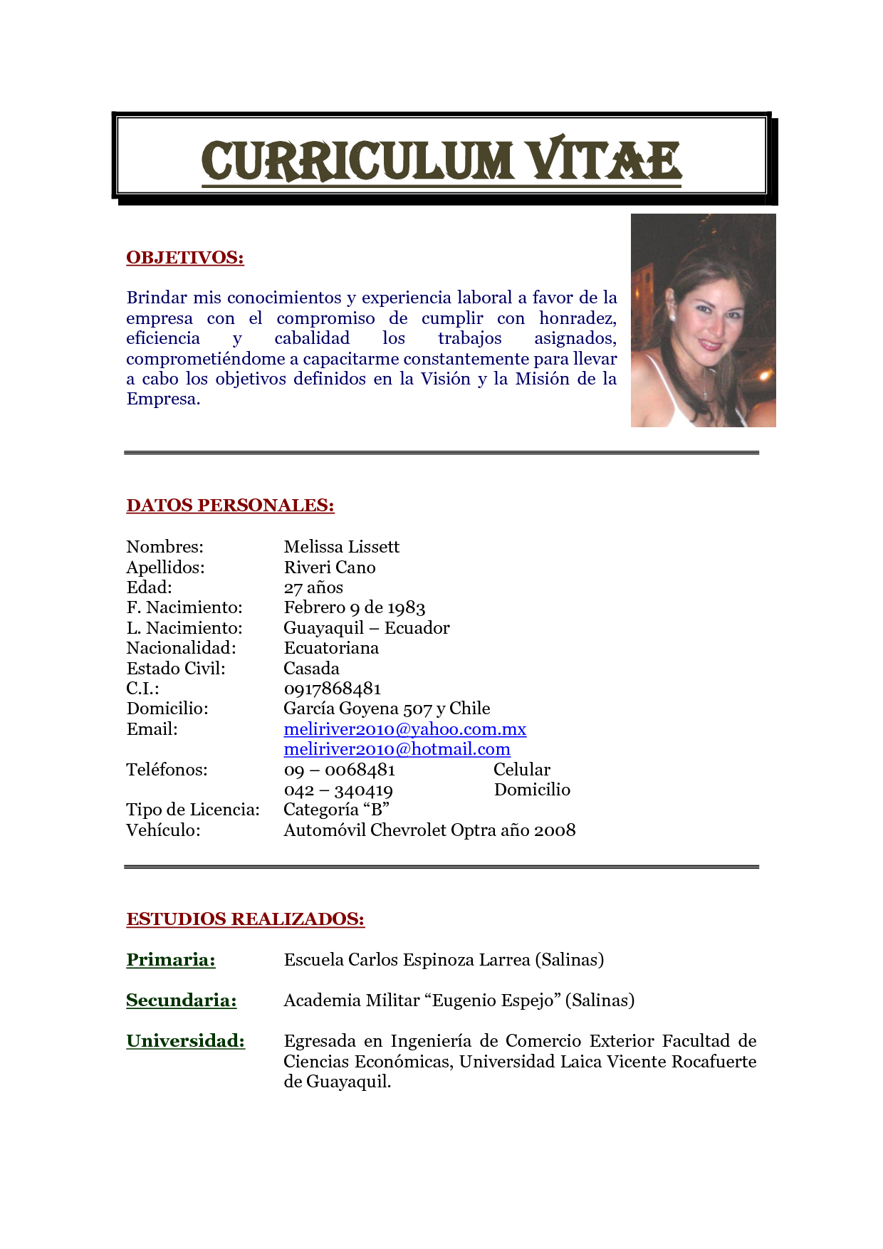 Curriculum Vitae Objetivos Modelo De Curriculum Vitae In 2020 Curriculum Vitae Writing Words
