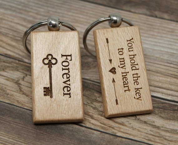 9d4ced5defdbc Key to My Heart Keychain Custom Gift Wooden Keychain Matching ...