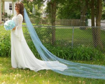Blue Wedding Veil Cathedral Colored Accesories