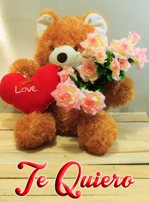 Mensajes De Amor Y Amistad En Tarjeta Con Osito Corazon Y Rosas Mensajes De Amor Corazones Rosados Corazones