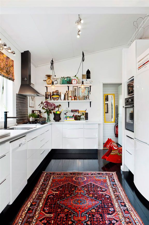 A Hy Swedish Home With Black Floors And Bright Colours Do Not Like But Over All Look Of Kitchen Owner Hannah Billberg