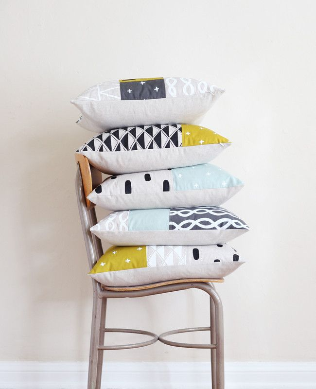 One of a kind Patchwork Pillow - Cotton & Flax