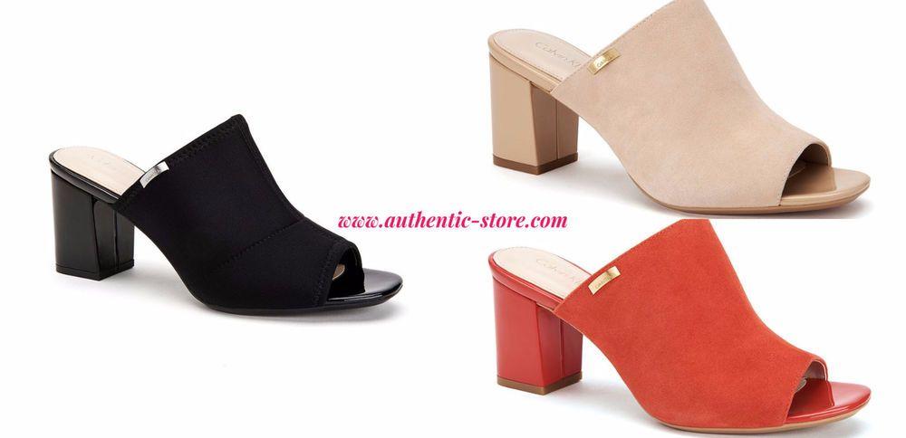 304db7df33eb Calvin Klein Sandals Slide Suede Open Toe Open Back Size 6 7 8 9 10 11   CalvinKlein  OpenToe