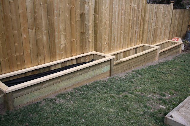 Raised Garden Beds Against Fence Along