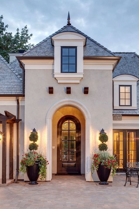 Best Small Exterior Home Design Ideas Remodel Pictures: Classic French Lake House Design- Exterior Stucco Color Is Sherwin Williams Mega Greige SW 7031