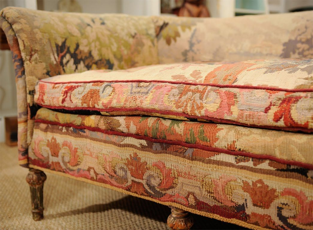 Mid Century Vintage Tapestry Sofa Late 19th Upholstered In From