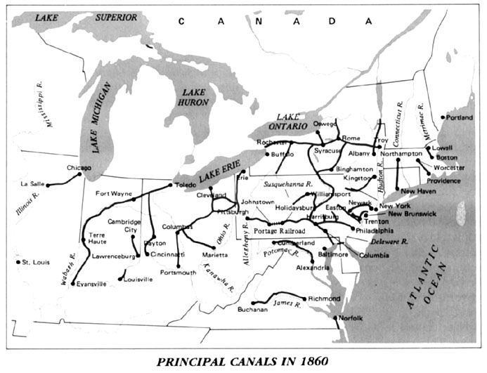 Canals In The United States : Principal u s canals antebellum