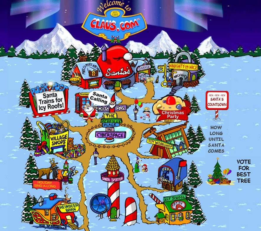 This Is A Map Of The Village At The North Pole On Claus Com This