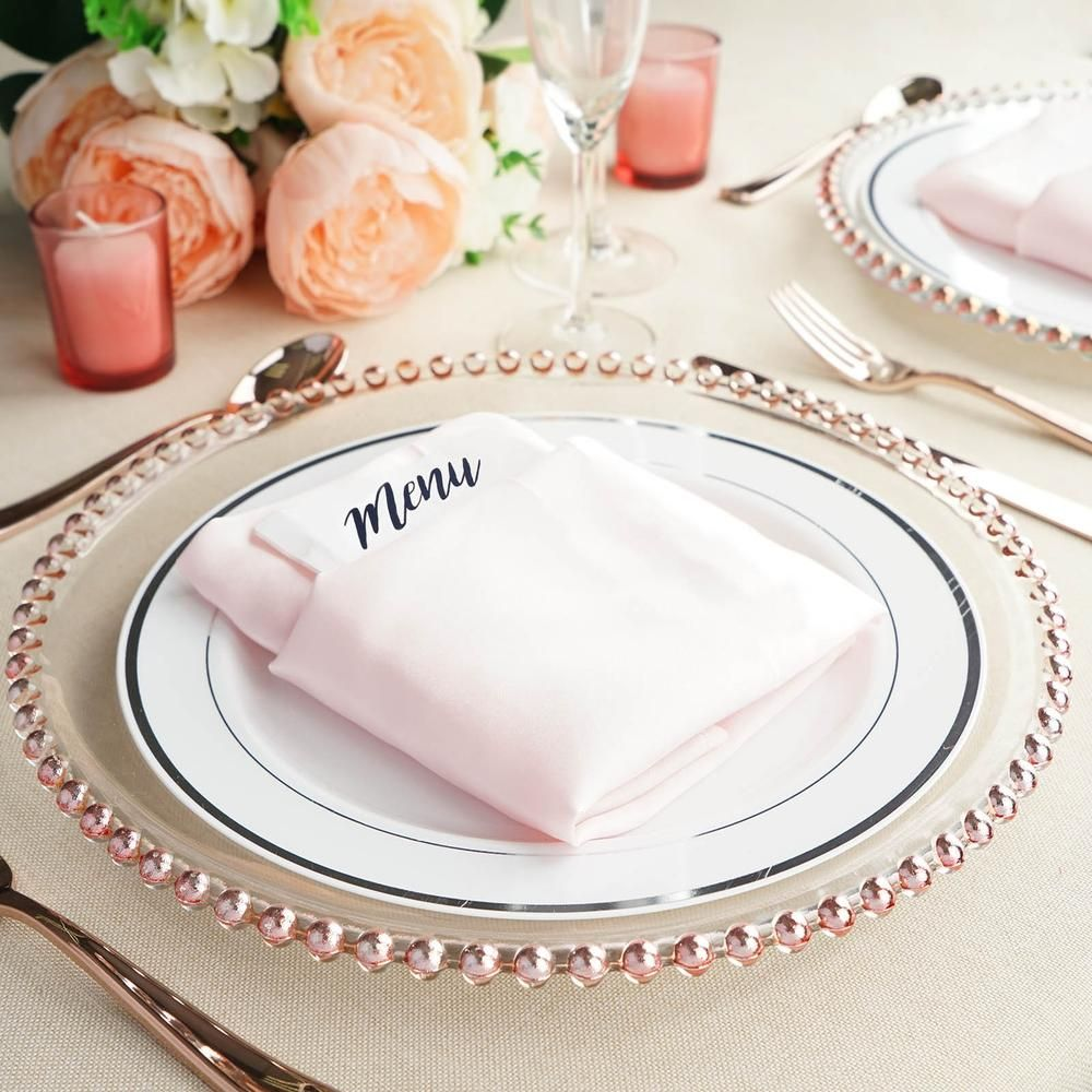 8 Pack 12 Round Rose Gold Beaded Rim Glass Charger Plates Tablecloths Factory Tableclothsf Glass Charger Plates Charger Plates Wedding Gold Wedding Plates