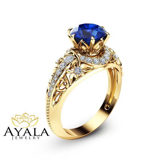 Blue Sapphire Engagement Ring 14K Yellow Gold by AyalaDiamonds