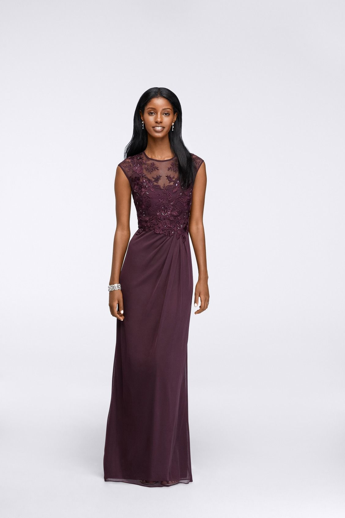 d00cef9ae8d Long Embroidered Cap-Sleeve Gown by Emma Street available at David s Bridal