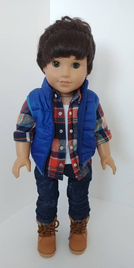 18 inch boy doll clothes. Fits like American girl doll clothes. 18 inch doll vest. 18 inch doll clothing. Quilted vest