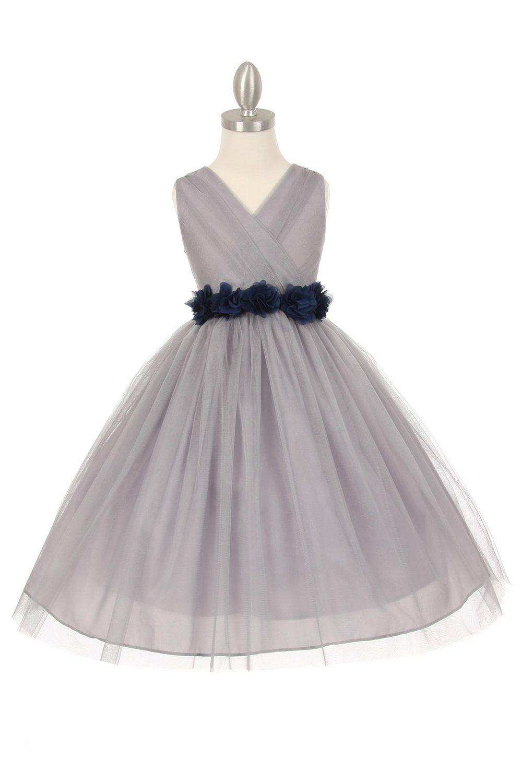 4cf947523 Silver/Navy Blue Tulle V-Neck with Removable Floral Sash Flower Girl Dress