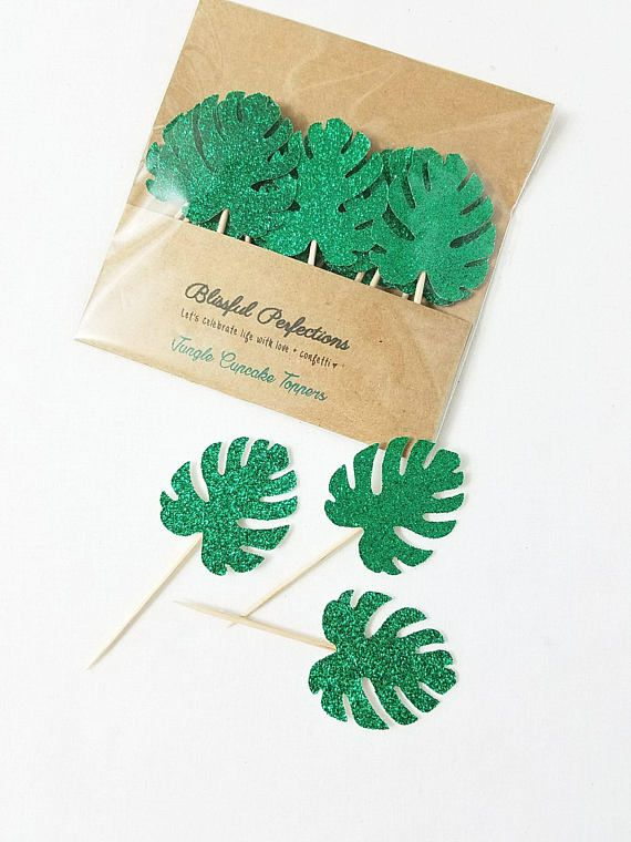 Tropical Party - Tropical Leaf Toppers, Jungle Toppers, Jungle Cupcake Toppers, Jungle Party Decor, Leaf Cupcake Toppers, Jungle Leaf Topper