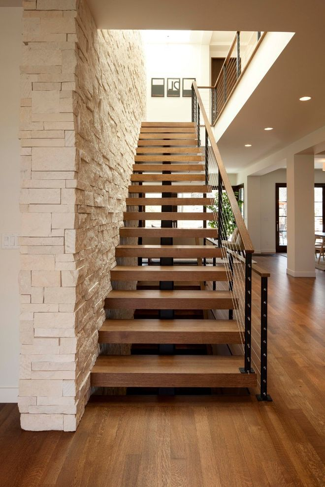 Thick Stair Treads With Modern Staircase And Cable Rail