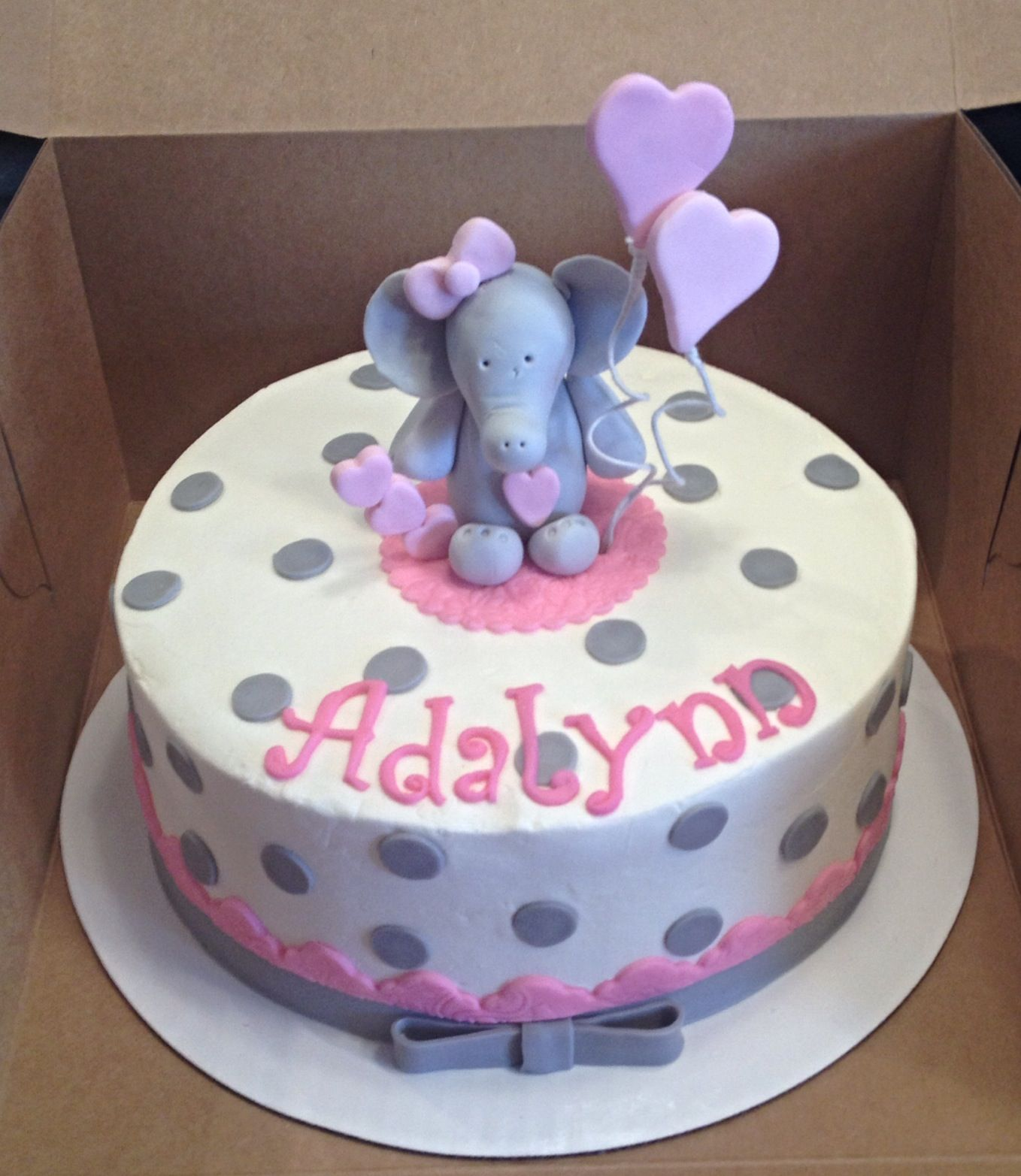 Baby elephant pink and gray baby shower cake