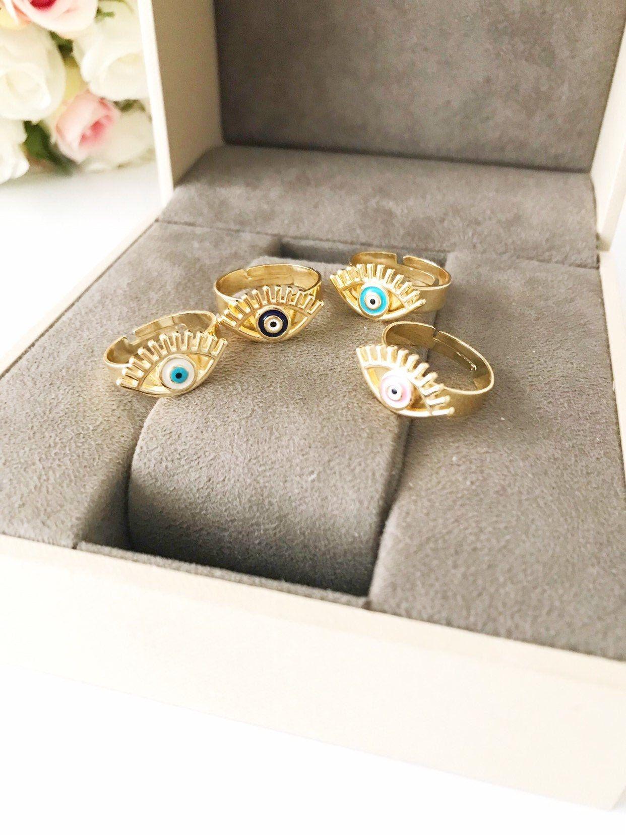 Photo of Blue evil eye ring, adjustable ring, dainty ring, evil eye gold jewelry, evil eye jewelry, blue evil eye bead, joint rings, greek jewelry
