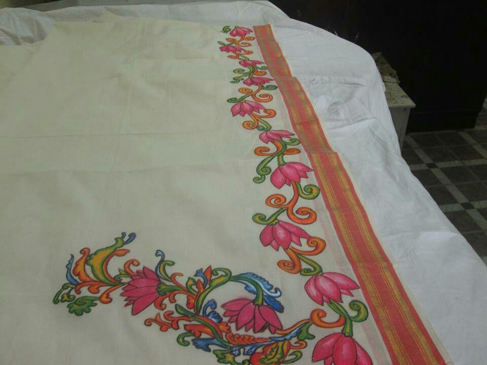 Saree Painting Mural Art Fabric Paintings Madhubani Kerala Deities Creative Ideas