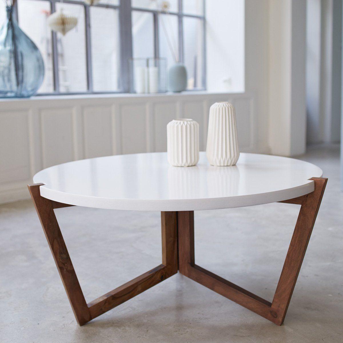 Tikamoon Niels Table Basse Palissandre Blanc 80 X 80 X 40 Cm