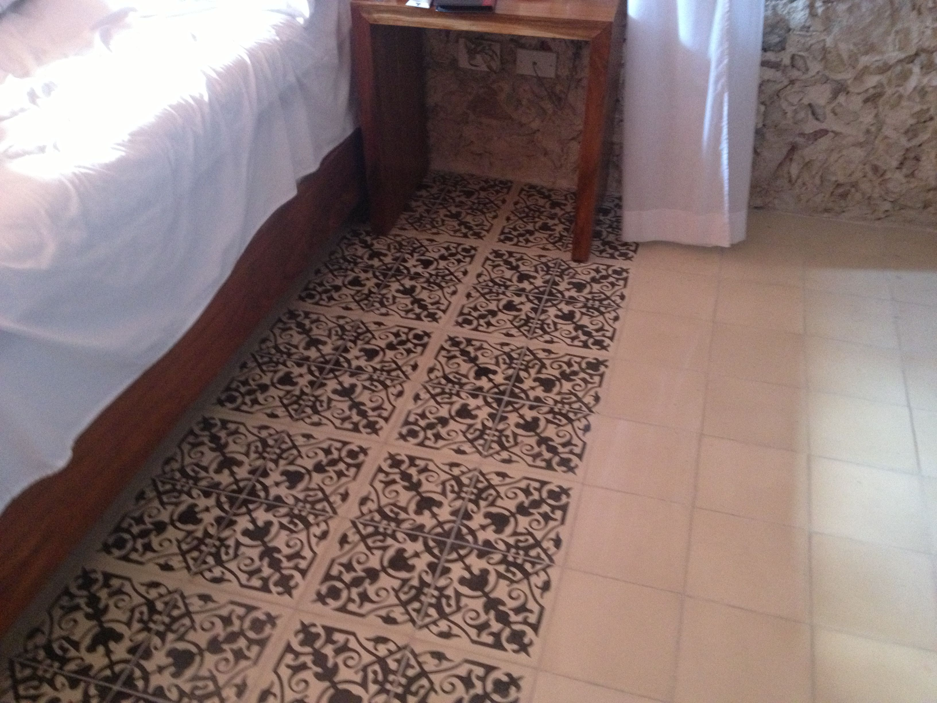 Shot of room floor I took, pasta tiles, at Casa de las Palomas, Mérida Yucatán.
