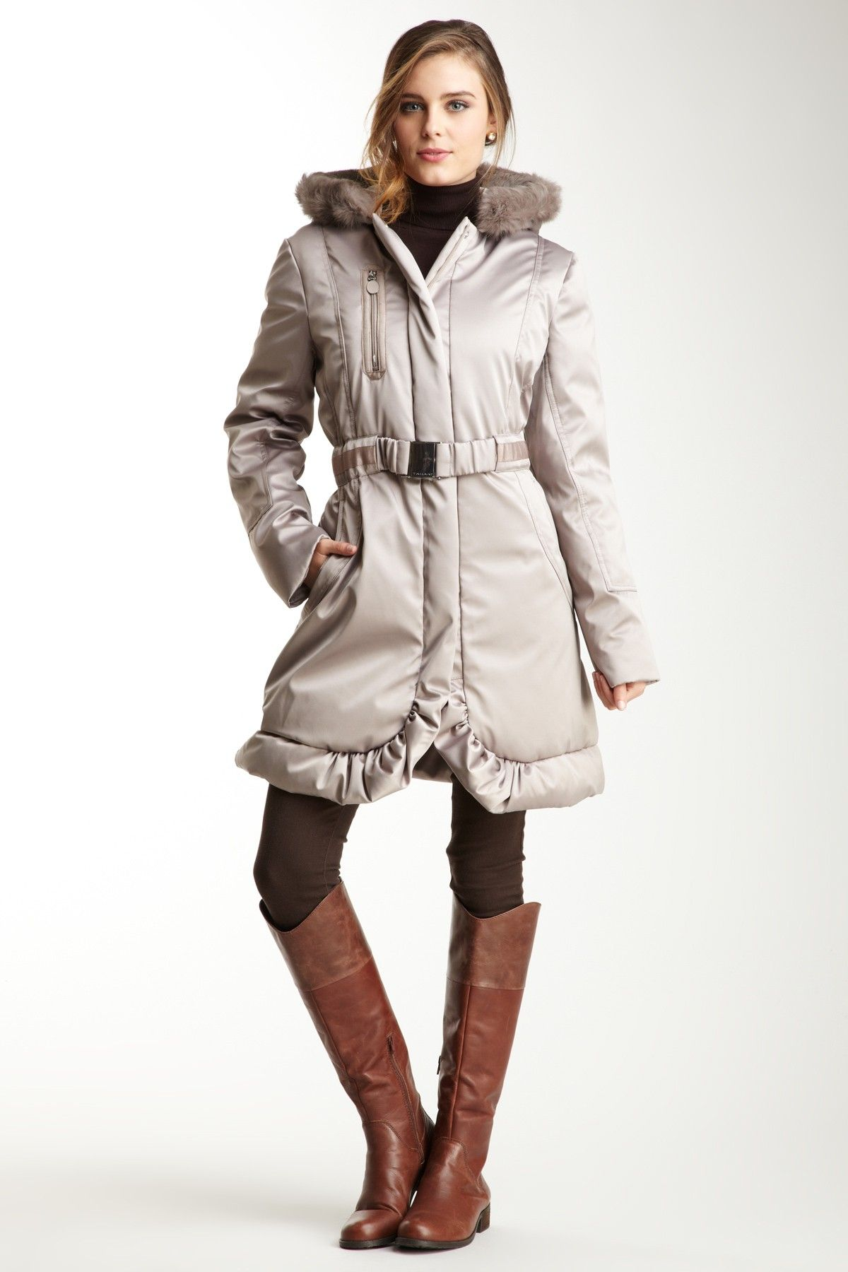 Tahari - Kingsley Fur Trimmed Hooded Coat    $400