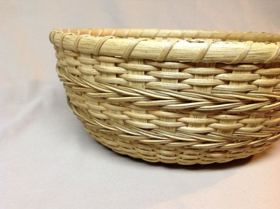SALE! Hand Woven Round Bowl-Type Basket with Cherry Wood Base, Arrow Design Woven into Sides