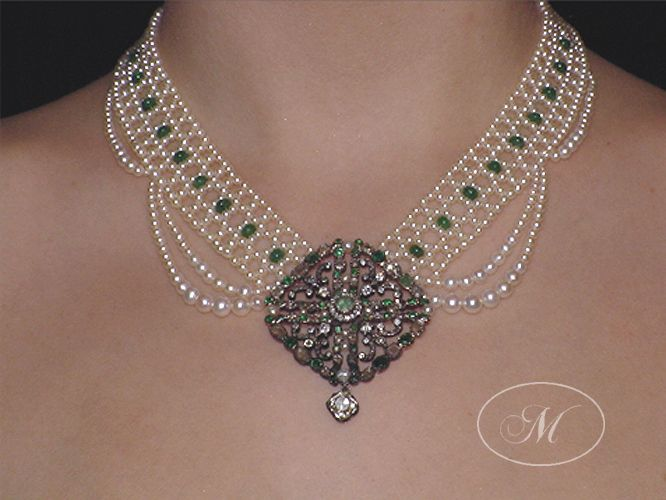 Woven Emerald And Seed Pearl Necklace With Antique Emerald