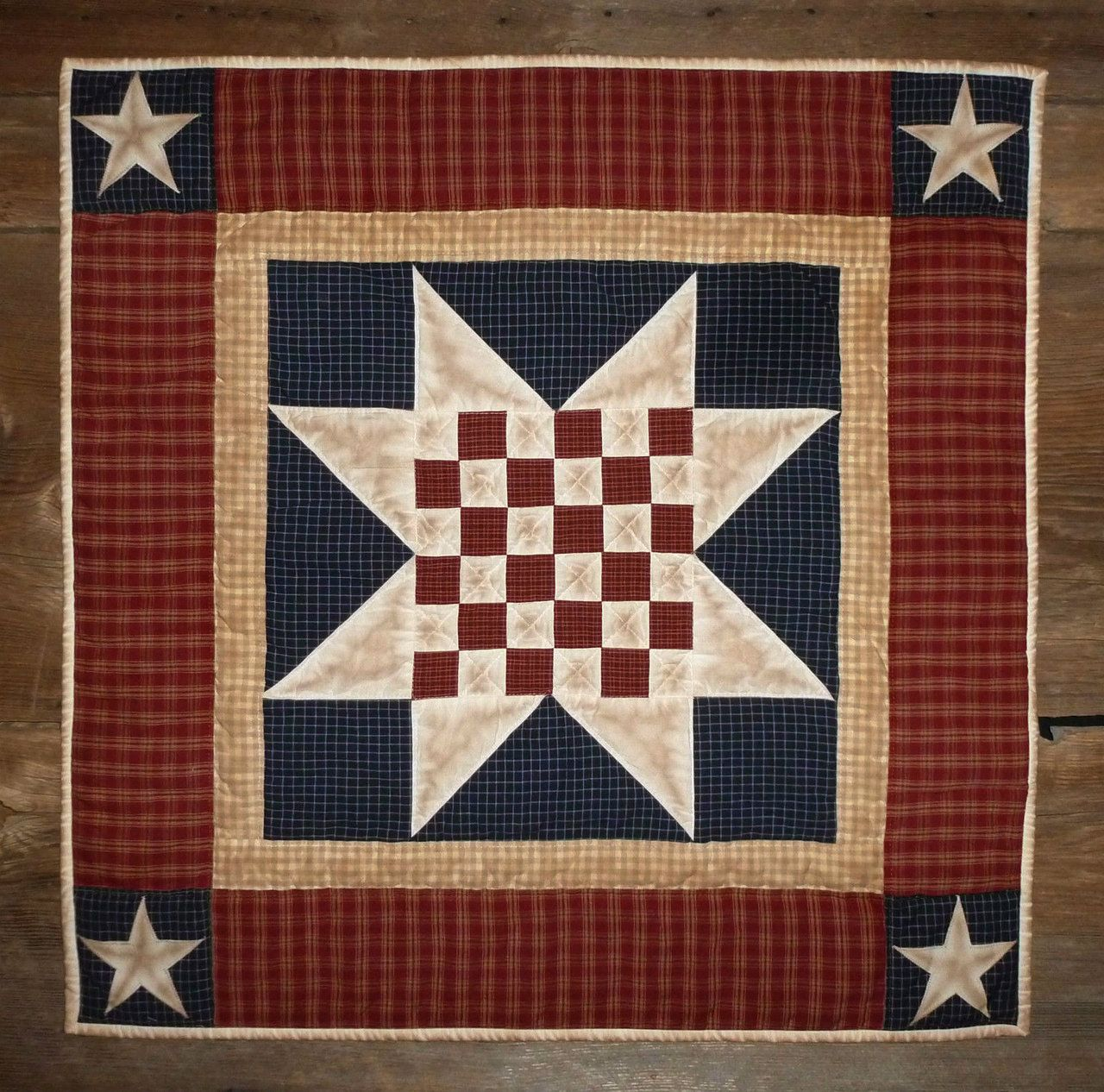 Quilted Wall Hanging Table Quilt Primitive Americana