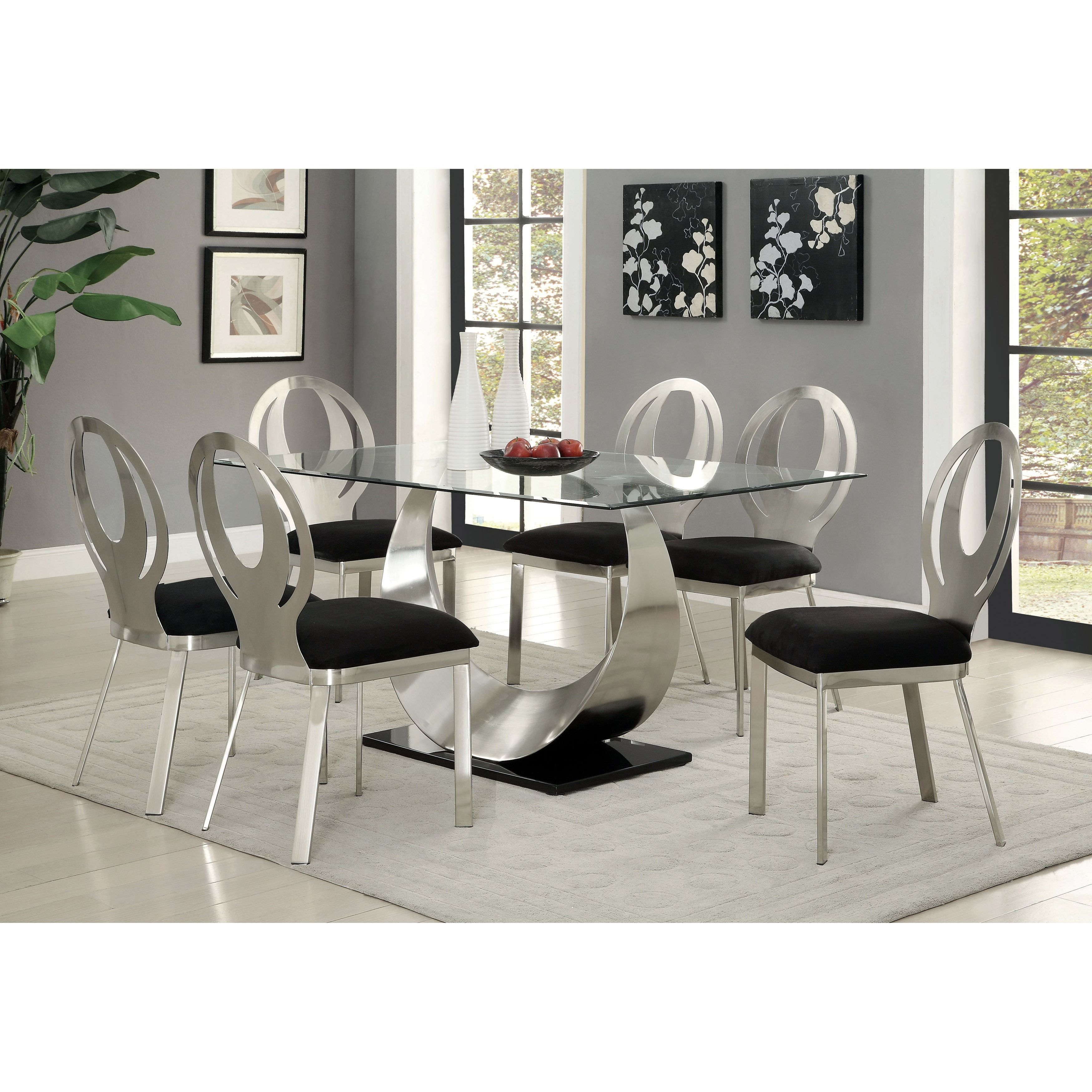 Furniture Of America Heer Contemporary Silver 60 Inch Dining Table