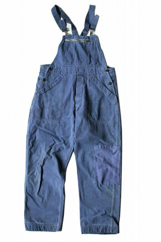 French vintage patched work overalls/France 1960's/KIDUR/patchwork/blue cotton/299