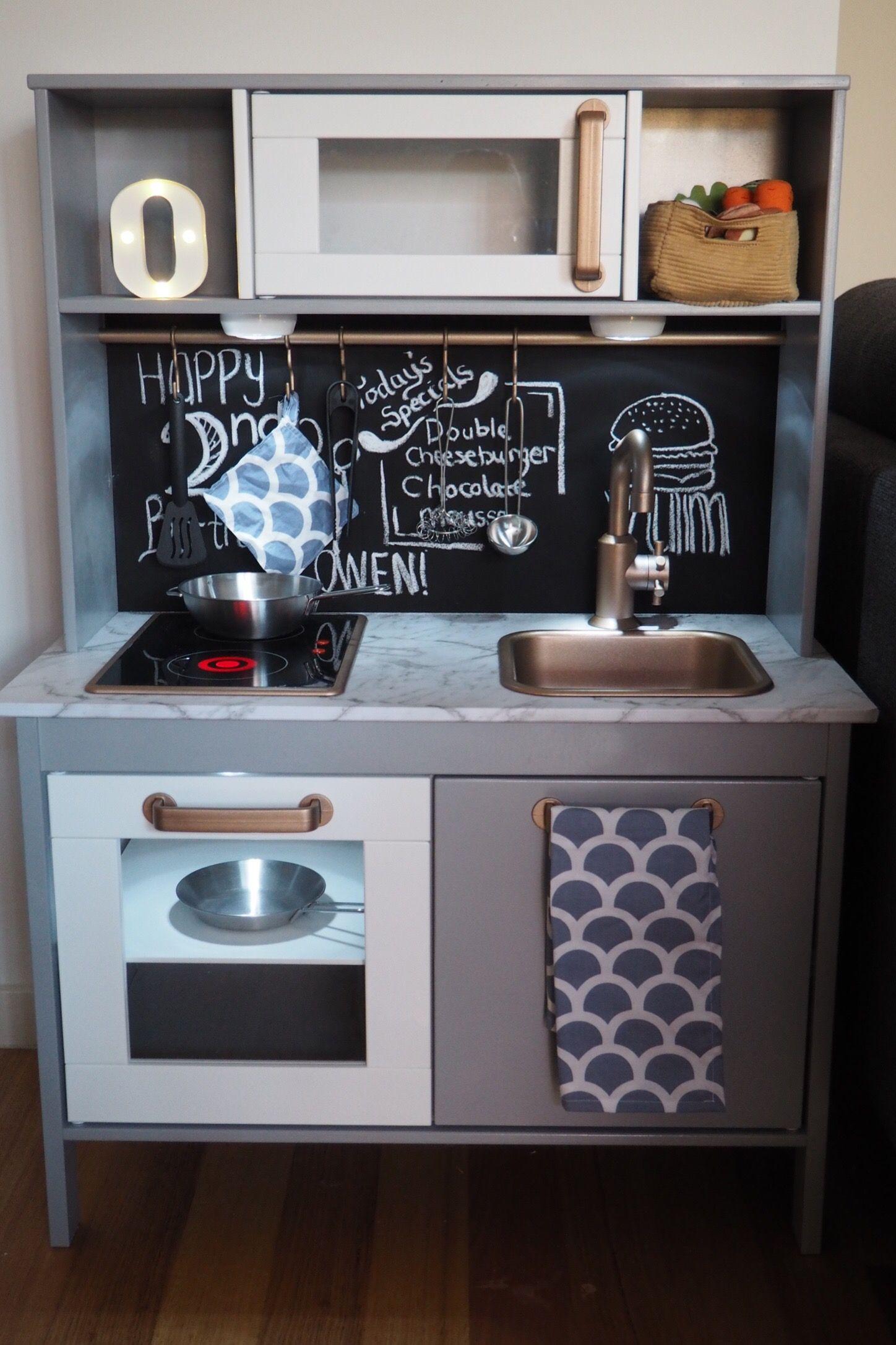 Ikea Duktig Kitchen Hack With Blackboard Splashback Copper Fixings And Handmade Tea Towel Duktig Kuche