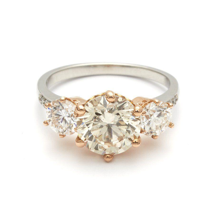 Hazeline Three Stone Ring  Platinum & Champagne Diamond