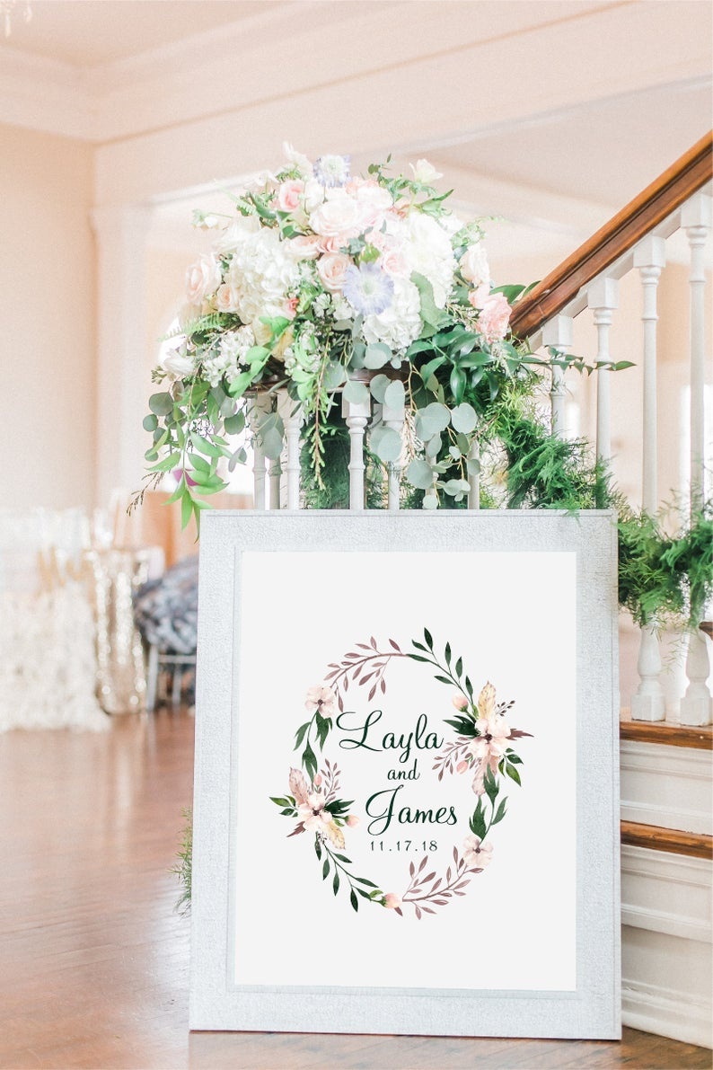 Floral Guestbook Print Calligraphy Welcome Sign Wedding Guest Book Sign Guestbook Wedding Poster Multiple Sizes Wedding Guest Book Sign Wedding Posters Bridal Shower Welcome Sign