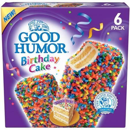 Good Humor Ice Cream Frozen Desserts Birthday Cake Stick Bar 6 Ct
