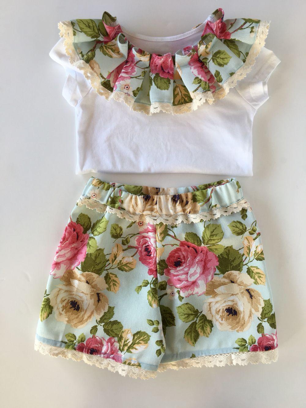 8768282b1 Conjunto para menina T-shirt com gola real Calções com renda de algodão  Disponível a partir dos 2 anos