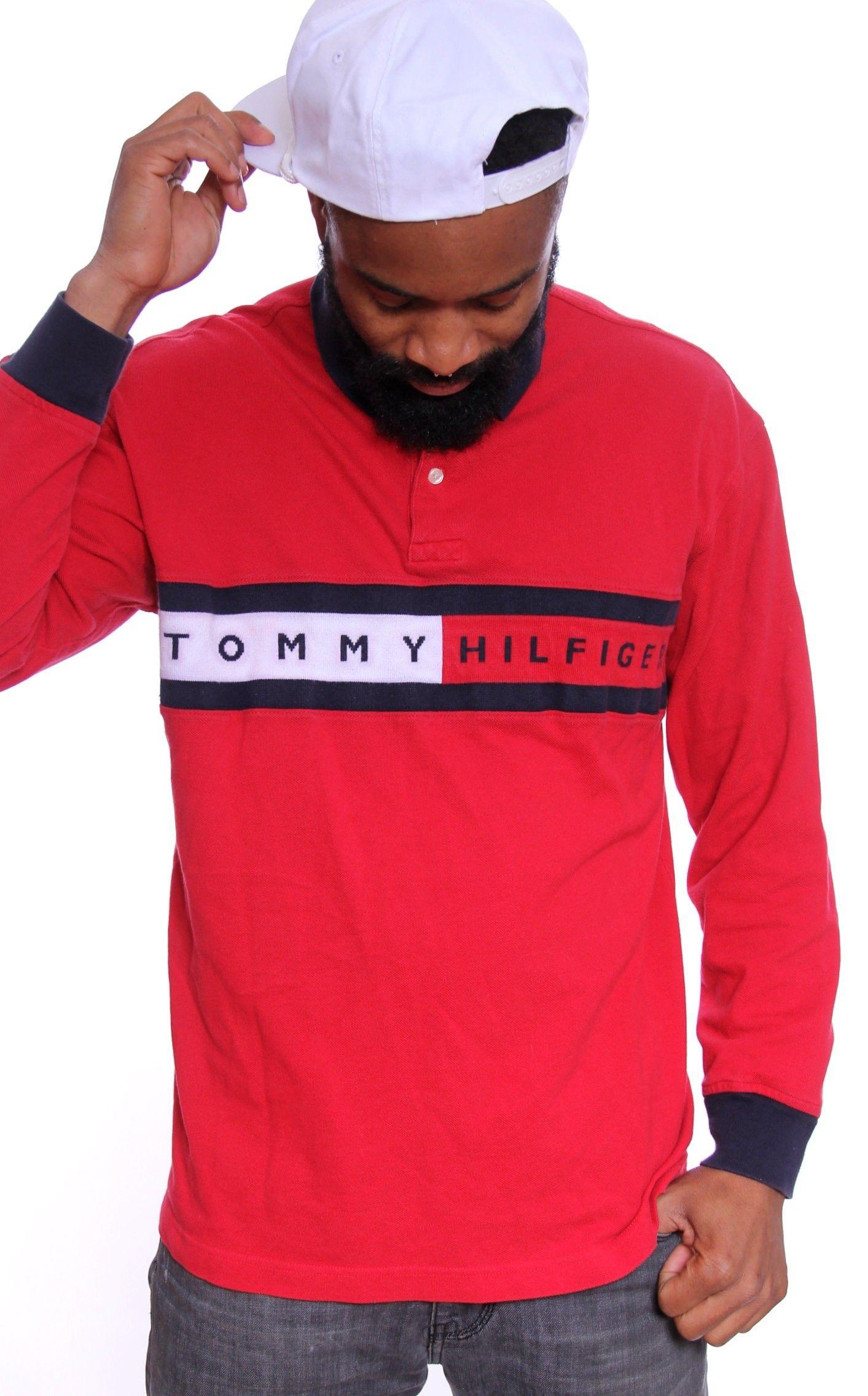 Vintage tommy hilfiger big crest spellout polo shirt for Tommy hilfiger vintage fit shirt